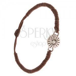 Bransoletka ze sznurków - czekoladowo brązowa, gęsto spleciona, stokrotka obraz