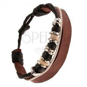 Multi bransoletka - czekoladowo brązowy pasek, dwukolorowe sznurki, koraliki obraz
