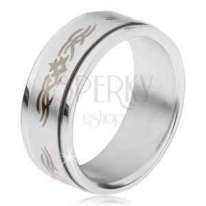 Stalowy pierścionek, matowa obracająca się obręcz z ornamentem obraz