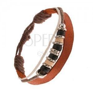 Multi bransoletka, cynamonowo brązowy pas, brązowy i biały sznurek, koraliki obraz