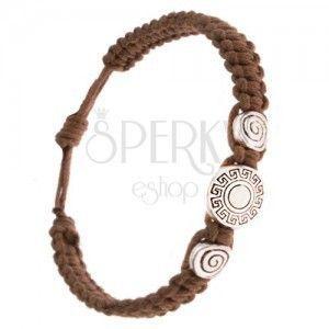 Bransoletka z zaplatanych kasztanowych sznurków, klucz grecki, spirala obraz