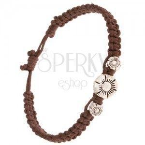 Pleciona bransoletka z kasztanowo brązowych sznurków, trzy patynowane kwiaty obraz