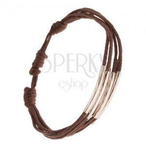 Sznurkowa bransoletka Multi w czekoladowo brązowym kolorze, rurka z nacięciami obraz