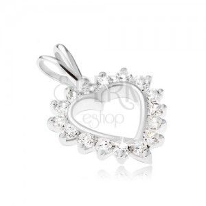 4b21c8dbf7723d Srebrny wisiorek 925 - kontury serca z przezroczystą cyrkoniową obwódką