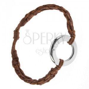 Bransoletka z kasztanowo brązowych i cynamonowych sznurków, okrągła zawieszka obraz