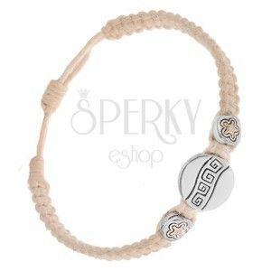 Kremowa sznurkowa bransoletka - trzy okrągłe wstawki, klucz grecki, kwiatki obraz