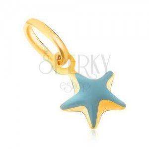 Wisiorek z żółtego złota 9K - błyszcząca wypukła niebieska gwiazda, emalia obraz