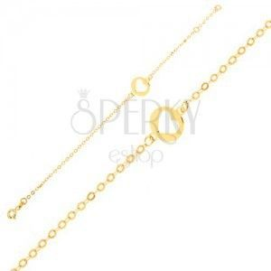 Złota bransoletka 375 - lśniący łańcuszek z okrągłą płytką z wycięciem serca obraz