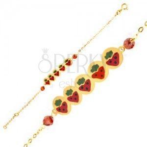 Bransoletka z żółtego złota 9K - podłużna wstawka z truskawkami, koraliki, łańcuszek obraz