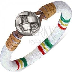 Okrągła bransoletka owinięta białym sznurkiem, kolorowe pasy, guzik obraz