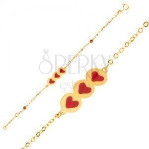Złota bransoletka 375 - błyszczący łańcuszek, wstawka z serduszkami, koraliki, emalia obraz