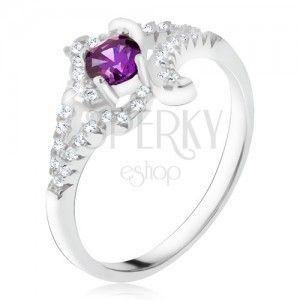 Srebrny pierścionek 925, fioletowy kamyczek, skręcone cyrkoniowe ramiona obraz