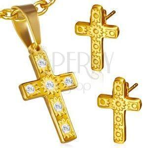 Stalowy zestaw w złotym kolorze - wisiorek i kolczyki, krzyż, przezroczyste kamyczki obraz