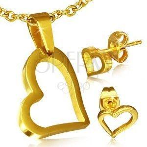 Złoty zestaw ze stali chirurgicznej - kolczyki i wisiorek, asymetryczny zarys serca obraz