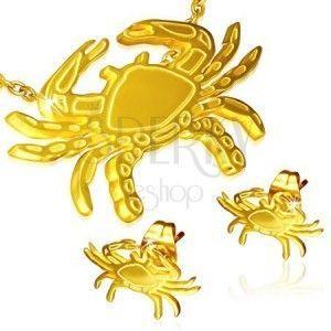 Złoty zestaw ze stali - kolczyki wkręty i wisiorek, krab obraz