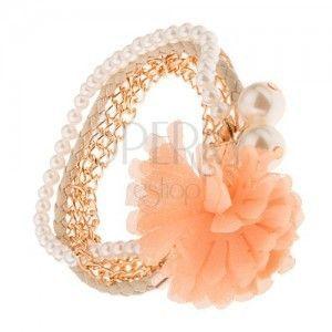 Multi bransoletka - złote łańcuszki, beżowa plecionka, koraliki, pomarańczowy kwiat obraz