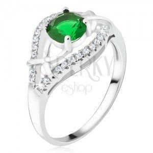 Srebrny pierścionek 925 - zielony okrągły kamyczek, cyrkoniowe ramiona obraz