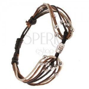 Bransoletka ze sznurków w czarnym, beżowym i brązowym kolorze, kulki, kostka obraz