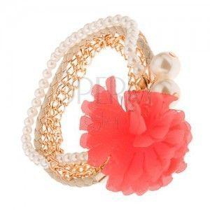Multi bransoletka - złote łańcuszki, beżowa plecionka, koraliki, łososiowy kwiat obraz