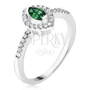 Srebrny pierścionek 925 - zielony kamyczek w kształcie elipsy, cyrkoniowe kontury obraz
