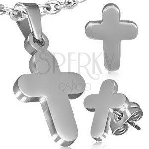 Zestaw ze stali - wisiorek i kolczyki, gładki krzyż łaciński obraz