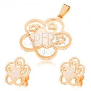 Złoty zestaw ze stali, kolczyki i wisiorek, wycinany kwiat z perłowym wypełnieniem obraz
