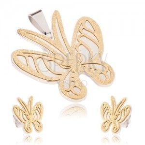 Złoto-srebrny zestaw ze stali, wisiorek i kolczyki, piaskowany motyl obraz