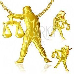 Złoty zestaw ze stali - kolczyki i wisiorek, znak Zodiaku Waga obraz