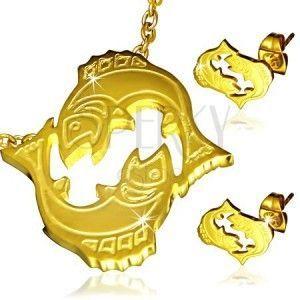 Stalowy zestaw w złotym kolorze - wisiorek i kolczyki, znak Zodiaku Ryby obraz