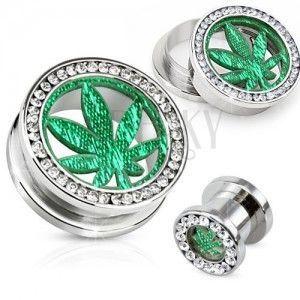 Stalowy tunel plug do ucha, przezroczyste cyrkoniowe koło, liść marihuany obraz