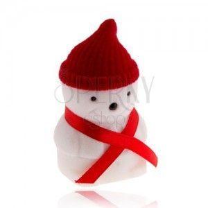 Pudełeczko prezentowe na pierścionek, bałwan z czerwoną czapką obraz