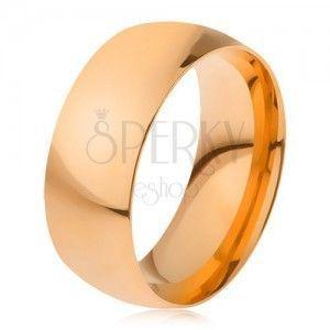 Obrączka ze stali 316L w złotym kolorze, lśniąca gładka powierzchnia, 8 mm obraz