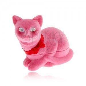 Aksamitne pudełeczko na kolczyki, różowy kot z kokardką obraz