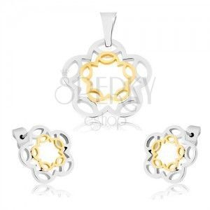 Stalowy zestaw - wisiorek i kolczyki w srebrno-złotym kolorze, zarysy kwiatów obraz