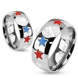 Pierścionek ze stali, emaliowane gwiazdy w białym, niebieskim i czerwonym kolorze obraz