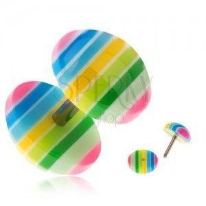 Akrylowy fake plug do ucha - żółte, zielone, niebieskie i różowe paski obraz