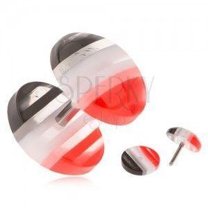Fake plug z akrylu, wypukłe kółka, czerwone, białe i czarne pasy obraz