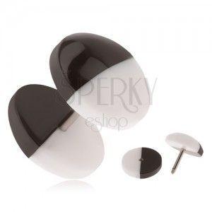 Akrylowy oszukany plug do ucha, czarno-białe wypukłe kółeczka obraz