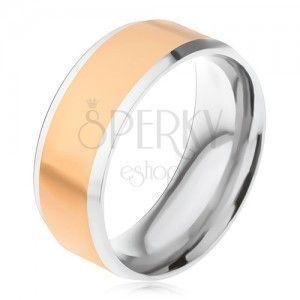 Stalowy pierścionek, złoty środkowy pas, srebrne ukośne krawędzie obraz