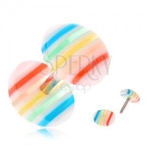 Oszukany plug do ucha, wypukłe przezroczyste kółka z kolorowymi paskami obraz