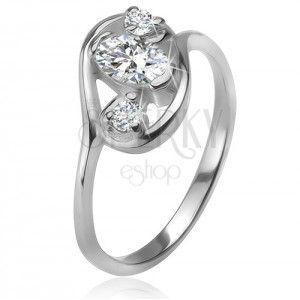 Cyrkoniowy pierścionek, zarys elipsy, trzy przezroczyste szlifowane kamyczki, srebro 925 obraz
