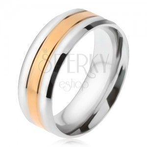Stalowy pierścionek, złoty i dwa srebrne pasy, ścięte krawędzie obraz