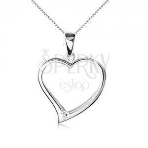 Naszyjnik srebro 925 - łańcuszek, zarys asymetrycznego serca, cyrkonia obraz