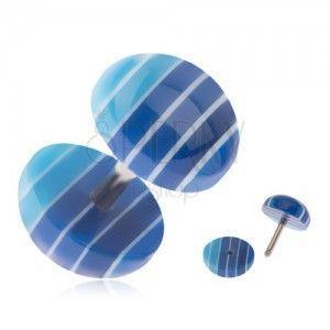 Fake plug do ucha, akrylowe kółka, ciemo i jasnoniebieskie pasy obraz