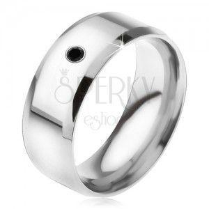 Lśniący lustrzany pierścionek ze stali 316L, czarny kamyczek obraz