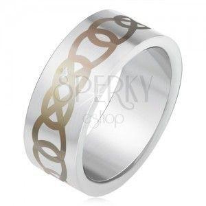 Matowy stalowy pierścionek srebrnego koloru, szary ornament z zarysów łez obraz