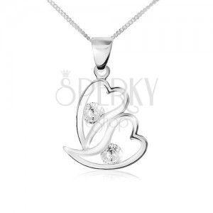 Naszyjnik ze srebra 925, dwa zarysy asymetrycznych serc, przezroczyste cyrkonie obraz