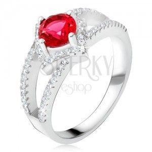 Pierścionek z rozdwojonymi ramionami, czerwony kamień, kwadrat, srebro 925 obraz
