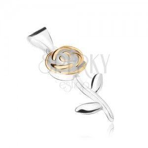 Wisiorek ze srebra 925, kwiat róży z płatkami w złotym kolorze obraz