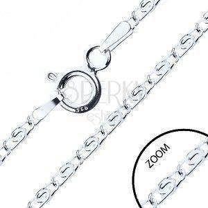 Łańcuszek ze srebra 925, przekładane oczka z eską, 2 mm obraz